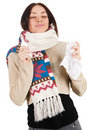 Cute young woman havign caught cold Stock Photo