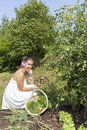 Cute young woman in her garden female gardener eating fresh picked cherry tomatoes beautiful organic Stock Image