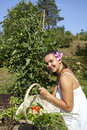 Cute young woman in her garden female gardener holding fresh picked plants beautiful organic Royalty Free Stock Images