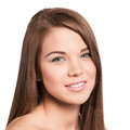 Cute young woman with long healthy brown hair natural look Stock Image