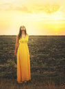 Cute young woman relaxed breathing fresh air, standing with closed eyes. Royalty Free Stock Photo