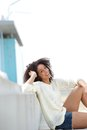 Cute young woman relaxing outdoors close up portrait of a and smiling Stock Images
