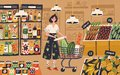 Cute young woman with shopping cart choosing and buying products at grocery store. Girl purchasing food at supermarket