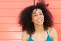 Cute young woman smiling outdoors close up portrait of a Stock Image