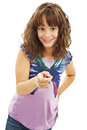 Cute youth girl pointing on you with her index finger Royalty Free Stock Image