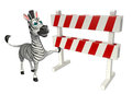 Cute Zebra cartoon character with  baracade Royalty Free Stock Photo