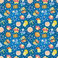 Cute zodiac symbols seamless pattern Stock Photo