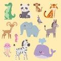 Cute zoo cartoon animals isolated funny wildlife learn cute language and tropical nature safari mammal jungle tall