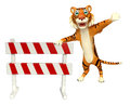 CuteTiger cartoon character with baracade Royalty Free Stock Photo