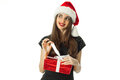 Cutie brunette woman in santa hat