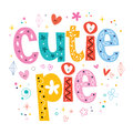 Cutie pie decorative lettering design Stock Image