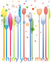 Cutlery colorful business card knife fork spoon Stock Photo