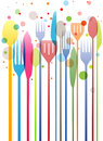 Cutlery colorful business card knife fork spoon Stock Photography