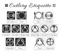 Cutlery etiquette. Table etiquette. Set of eating utensils etiquette icons. Food eating rules and manners. Table manners and fine Royalty Free Stock Photo