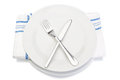 Cutlery fork knife plate and napkin. Royalty Free Stock Photo