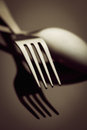 Cutlery fork and spoon close up Stock Image