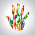 Cutlery hand shape illustration colorful dishware this vector is layered for easy manipulation and custom coloring Stock Photo