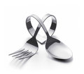 Cutlery heart bent spoon and fork representing a Stock Image