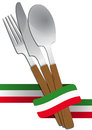 Cutlery italian illustration of set with color ribbon Stock Photo