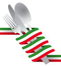 Cutlery italian illustration of set with color ribbon Royalty Free Stock Photos