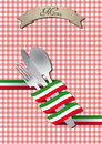 Cutlery italian illustration of set with color ribbon Royalty Free Stock Images