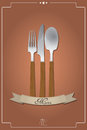 Cutlery menu illustration of with ribbon Royalty Free Stock Images