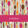 Cutlery pattern invitation Royalty Free Stock Photo