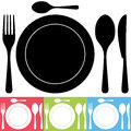 Cutlery and Plate Icons Stock Photo