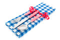 Cutlery red table cloth blue Stock Images