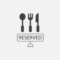 Cutlery and reserved sign
