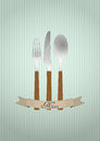 Cutlery ribbon illustration of with blank Royalty Free Stock Images