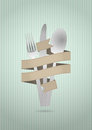 Cutlery ribbon illustration of set with blank Royalty Free Stock Photo