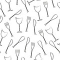 Cutlery seamless pattern illustration of and glass graphic Stock Photography