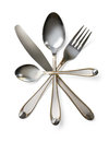 Cutlery set with fork knife and spoon isolated Royalty Free Stock Photo