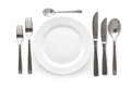 Cutlery set place setting with plate knife and fork on white background Stock Photography