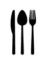 Cutlery silhouette knife spoon and fork Stock Photo