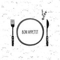 Cutlery vector set. Plate, fork and knife icon. Restaurant cafe design. Bon appetit Royalty Free Stock Photo