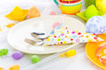 Cutlery wrapped napkin easter table in a on Royalty Free Stock Photography