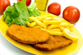 Cutlet,breaded-with french fries Royalty Free Stock Image