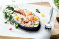 Cutlet of grilled gourmet salmon Royalty Free Stock Photo