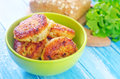 Cutlets fried in green bowl Royalty Free Stock Photos
