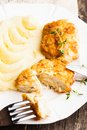 Cutlets with potato chicken and puree in a plate close up Royalty Free Stock Image