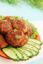 Cutlets with watercress fried cucumber and salad Royalty Free Stock Images