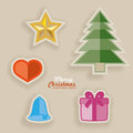 Cutout christmas decoration elements for xmas cards and designs Royalty Free Stock Image