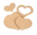 Cutout hearts made of cardboard on white background Royalty Free Stock Images