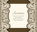 Cutout paper card with floral border Royalty Free Stock Photo