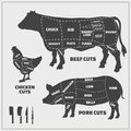 Cuts of beef, pork and chicken. Royalty Free Stock Photo