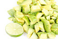 Cutted avocado and lime Royalty Free Stock Photos