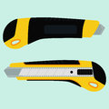 Cutter knife office paper knife from two sides in flat style design Stock Image