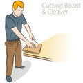 Cutting Board and Cleaver Stock Image